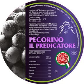 pecorino maremma new taste sheep sheep's cheese dairy caseificio tuscany tuscan spadi follonica label italian origin milk italy matured aged flavored flavor aromatic il predicatore in grapes pomace