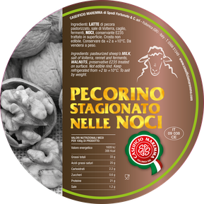 pecorino maremma new taste sheep sheep's cheese dairy caseificio tuscany tuscan spadi follonica label italian origin milk italy matured aged in leaf leafs of walnut walnuts nut nuts refine refined flavored flavor stagionato nelle noci