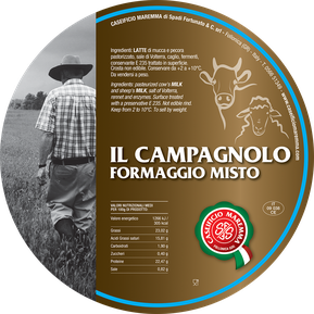 maremma mixed mix cow cow's sheep sheep's cheese dairy caseificio tuscany tuscan spadi follonica label italian origin milk italy fresh il campagnolo formaggio misto