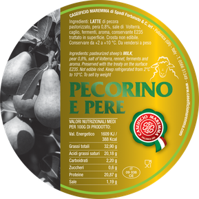 pecorino maremma new taste sheep sheep's cheese dairy caseificio tuscany tuscan spadi follonica label italian origin milk italy matured aged flavored flavor aromatic e pere pear pears