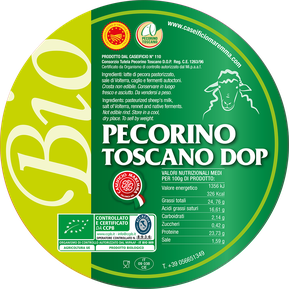 pecorino sheep sheep's cheese dairy caseificio tuscany tuscan spadi follonica label italian origin organic biological bio certificated logo milk italy fresh tender  biologico dop pdo