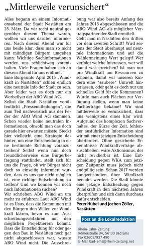Leserbrief Rhein-Lahn-Zeitung v. 21.04.2015