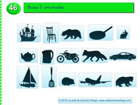 IDENTIFICA LAS SOMBRAS DE 5 ANIMALES  (Estimulación, memoria y atención)