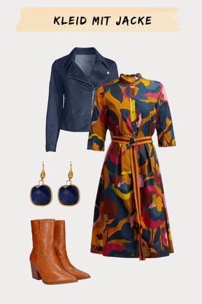 Outfitkombination Lederjacke und Kleid