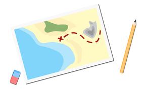 Bild einer Landkarte mit Stift und Radiergummi