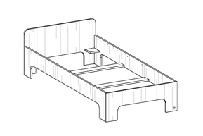 room³ Einzelbett mit hohem Kopfteil (20 cm über Bettgestell)