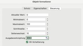 Excel Scrollbar hinzufügen