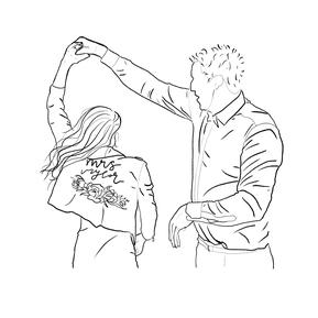 een pentekening maken van je trouwfoto