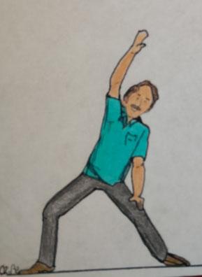 Zeichnung eines Mannes, der sich zur Seite neigt und den Arm nach oben streckt