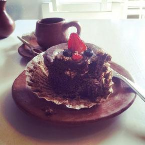 "My cake smiles at me ""eat me!"" at Alma de Café :-)"