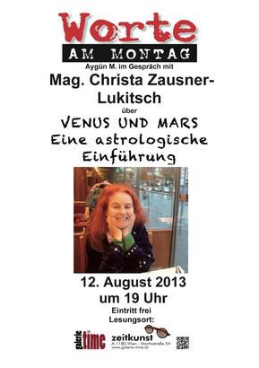 Worte am Montag Venus und Mars eine astrologische Einführung Mag. Christa Zausner-Lukitsch Aygün M. Astrologie Galerie Time
