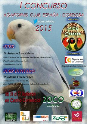 I CONCURSO AGAPORNIS CLUB ESPAÑA-CORDOBA 2015 A.C.E CORDOBA, aviario miguel granada