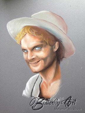 gemaltes Portrait von Terrence Hill aus Sachsen by Melanie Nicklisch; mit Pastellkreide auf grauen Karton gemalt