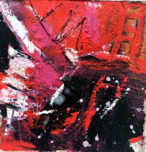 "WVZ 013/2016 - ""little red inferno"" - Acryl auf Papier hinter Passepartout / Bildausschnitt 10 x 10 cm / Gesamtformat 30 x 30 cm"