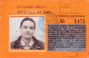 Nella foto il cartellino di Ufficiale di Gara di Alfredo Riva