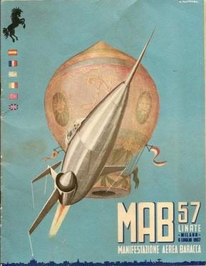 Cartolina commemorativa del MAB57 Manifestazione Aerea Baracca del 1957 svoltasi nel luglio del 1957. (collezione privata)