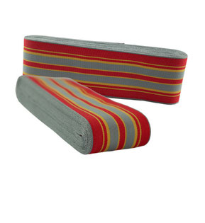 decorative striped ribbon no. 10, red-grey-yellow stripes, width 9. (while stocks last)