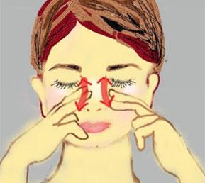 鼻の両側を目頭の下くらいから小鼻のところまで筋にそって、人差し指と中指で上下に刺激する。肌への負担が少なくなるようにオイルはつけたほうが良いと思います。