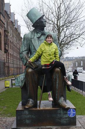 The Statue of Hans Christian Andersen in Copenhagen, Danish author
