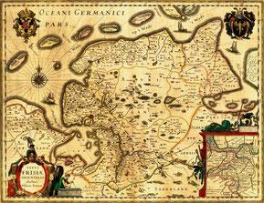 Typus Frisiae Orientalis von Ubbo Emmius, um 1600, via Wikimedia Commons