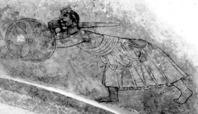Bild eines Friesischen Kriegers in der Kirche von Woldendorp, um 1350