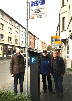 Foto: Rüdiger Krentz, Erich Lippert und Hartmut Umgelder an der Paulinenstraße