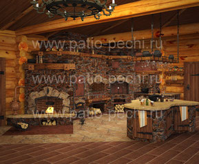 Фото печного комплекса в беседке из бревна с камином, мангалом, коптильней, русской печью, печь под казан, столиками в закрытой летней кухне с отоплением