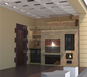 Фото барбекю комплекса на террасе банного комплекса с мангалом, вертелом, каминной вставкой, коптильней горячего копчения