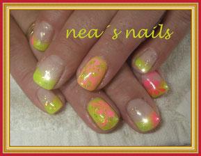 Gel mit Farbwechseleffekt Grün/Gelb und Airbrush