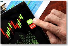 Bild eines Aktiencharts per Candlesticks mit Kauf - und Verkaufs-Schaltflächen (bye und sell)