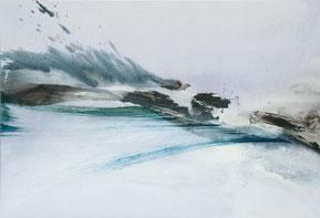 Simone Distler, Am Rande Stille, 2020, 85×125cm, Mischt. auf Leinwand