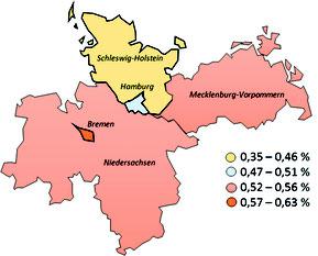 Abbildung 2: Prävalenz bei juveniler Psoriasis (Ausschnitt: Norddeutschland)