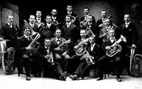 Die Aktivmitglieder des Musikvereins Bubendorf im Jahre 1912.