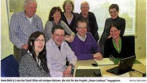 Anne Behr (r.) von der Stadt Olfen mit einigen Aktiven, die sich für das Projekt 'Unser Leohaus' engagieren. RN-Foto Edith Möller