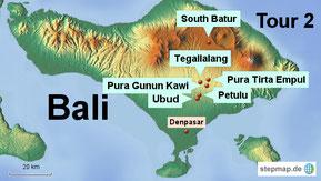 Bild: Karte von Bali mit unserer Tour