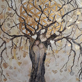 Lebensbaum mit der Blume des Lebens veredelt mit Blattgold