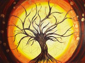 Lebensbaum mit der Blume des Lebens.Ein Energiebild gemalt in Acryl