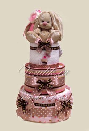 """Торт из памперсов и пелёнок  """"Шоколадный Зайчонок"""""""
