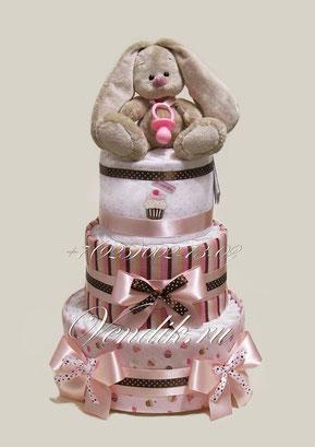 """Торт из памперсов и пелёнок для девочки """" Шоколадный Зайка Ми"""""""