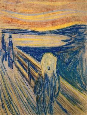 """Ein Bild, das wie kein zweites für die Erschütterung durch die Konfrontation mit Grenzsituationen steht: Edvard Munch: """"Der Schrei"""" (Bildquelle: Wikipedia)"""