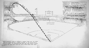 Il disegno/documento sul lungo fuoricampo di Josh Gibson allo Yankee stadium (Lawrence Hogan / National Baseball Hall of Fame Library)