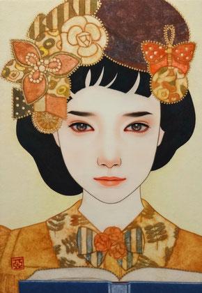 「おぼろ月」雲肌麻紙に岩絵具・水干絵具・墨・顔彩 P3