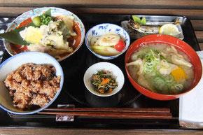 天然舞茸が天ぷらと味噌汁で味わえた