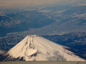 飛行機から眺めた富士山(1月18日)