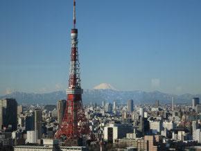パークホテル東京のフロント(25階)からの展望(1月18日)