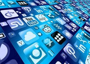Icônes de réseaux sociaux alignés pour évoquer le digital