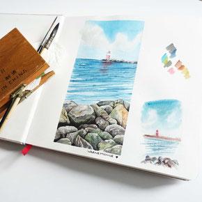 malreise, artistravel, traveljournal, reisetagebuch, urban sketching, landschaften malen, malen lernen, malkurs, skizzenbuch, warnemünde, youdesignme, aquarell workhop berlin,