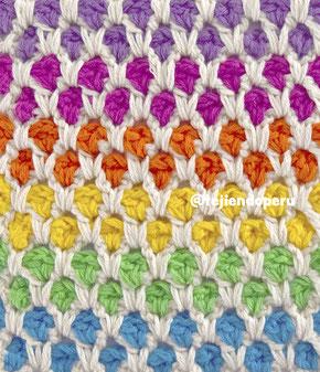Punto mosaico marroquí tejido a crochet / Moroccan tile crochet stitch