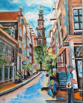 Closed in the heart Westertoren Amsterdam     40x50cm