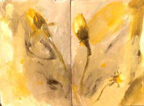 Skizzenbuchseiten, Löwenzahn, Blumen, Gelb